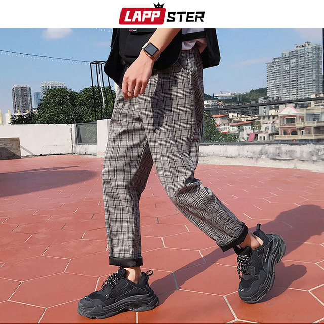 LAPPSTER Streetwear Yellow Plaid Pants Men Joggers 2020 Man Casual Straight Harem Pants Men Korean Hip Hop Track Pants Plus Size 4