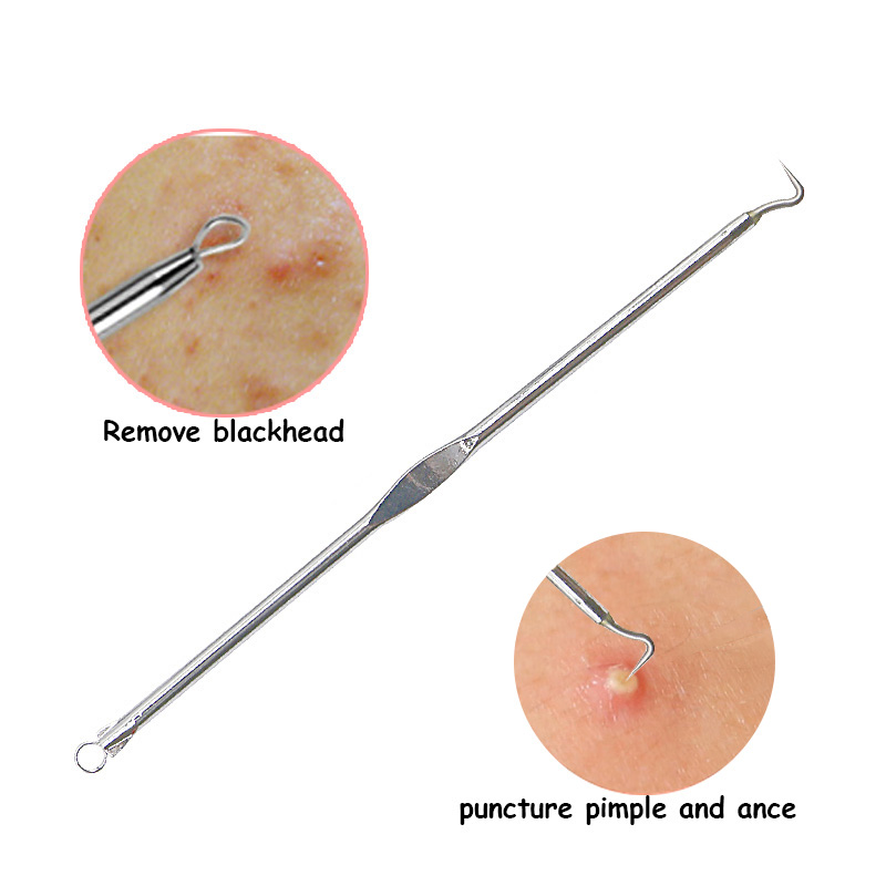 4Pcs Antibacterial Black Head Pimples Acne Needle Face Care Comedone Acne Blemish Extractor Remover Skin Face Cleansing Tool