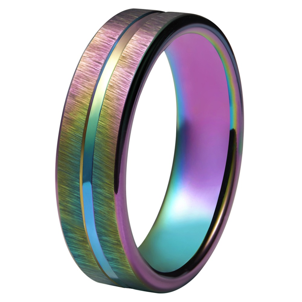 Mens Wedding Rings 4mm Tungsten Carbide Wedding Rings Rainbow Anodized Groove Center with Rainbow Plating Mens Jewelry