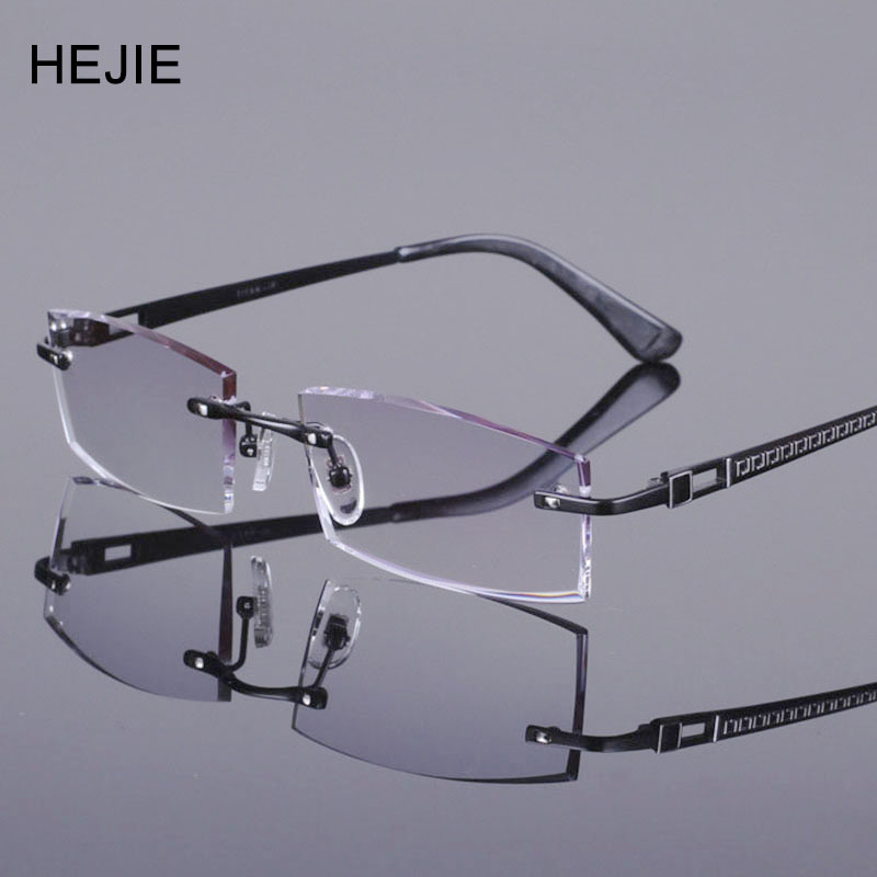 fashion men pure titanium rimless eyeglasses frames diomand cutting myopia glasses frame size
