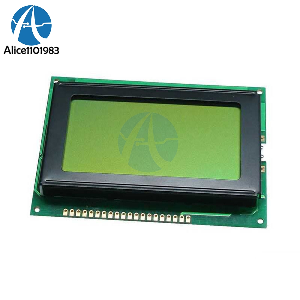 12864 128x64 Dots Graphic LCD Display Module Yellow Green Color Backlight LCD Display For Arduino Raspberry Pi Test Equipment12864 128x64 Dots Graphic LCD Display Module Yellow Green Color Backlight LCD Display For Arduino Raspberry Pi Test Equipment