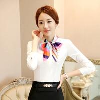 Осень чистый цвет женщина блузка шарф, воротник дизайн Бизнес рубашка для офиса белый и синий топ носить женские офисные одежда