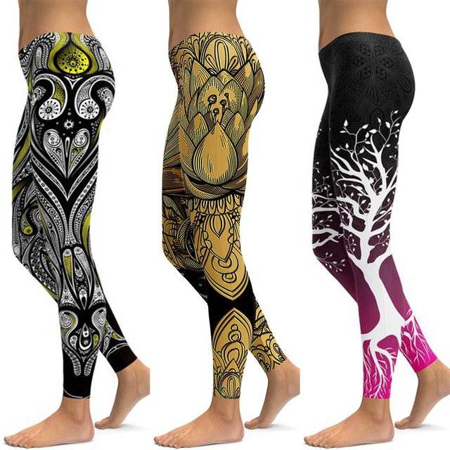 LI-FI Print Yoga Pants Women Unique Fitness Leggings Workout Sports Running Leggings Sexy Push Up Gym Wear Elastic Slim Pants 2