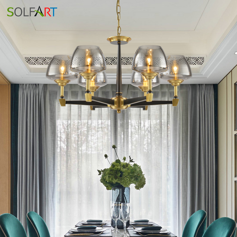 купить Lustre Modern Chandelier Lighting Fixtures Simple Style Pure Copper Lamp Chandelier Lighting Ceiling Lamps Chandeliers Vallkin недорого