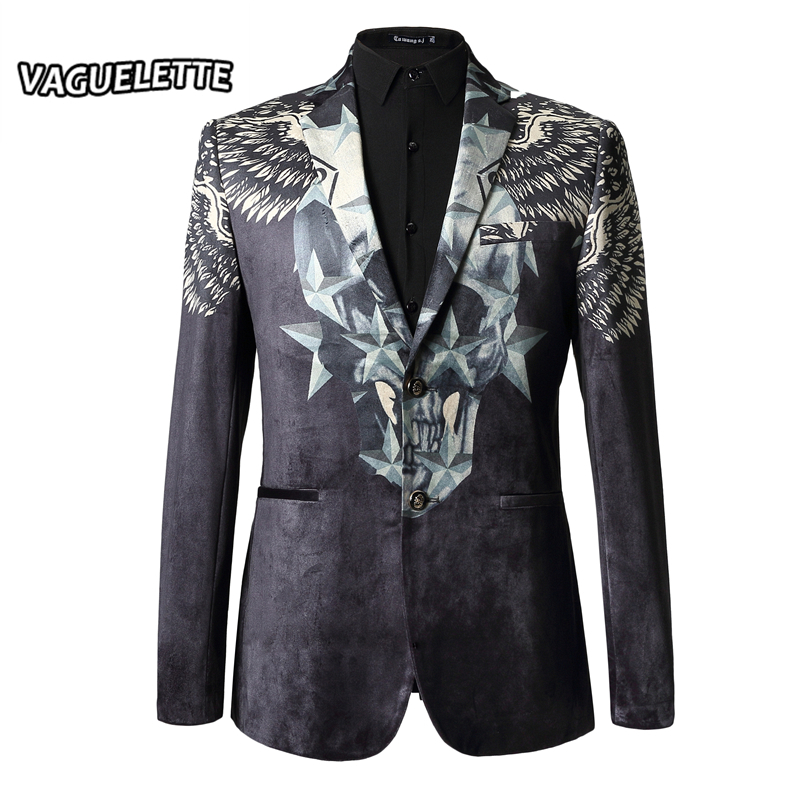 Luxury Brand Men Blazer Slim Fit Velvet 3d Print Skull