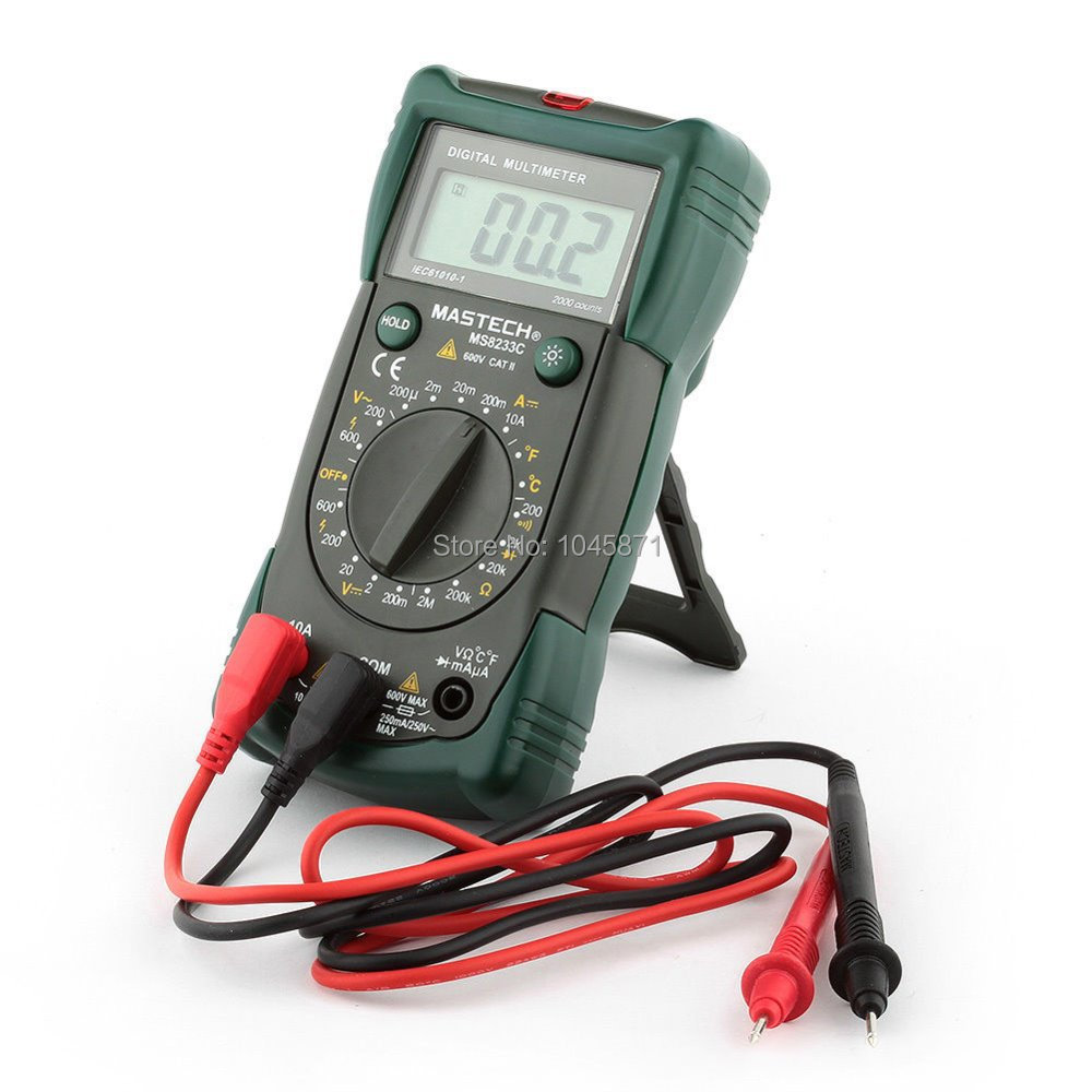 M053 MASTECH MS8233C LCD DMM AC DC Voltage Detector Backlight Digital Multimeter