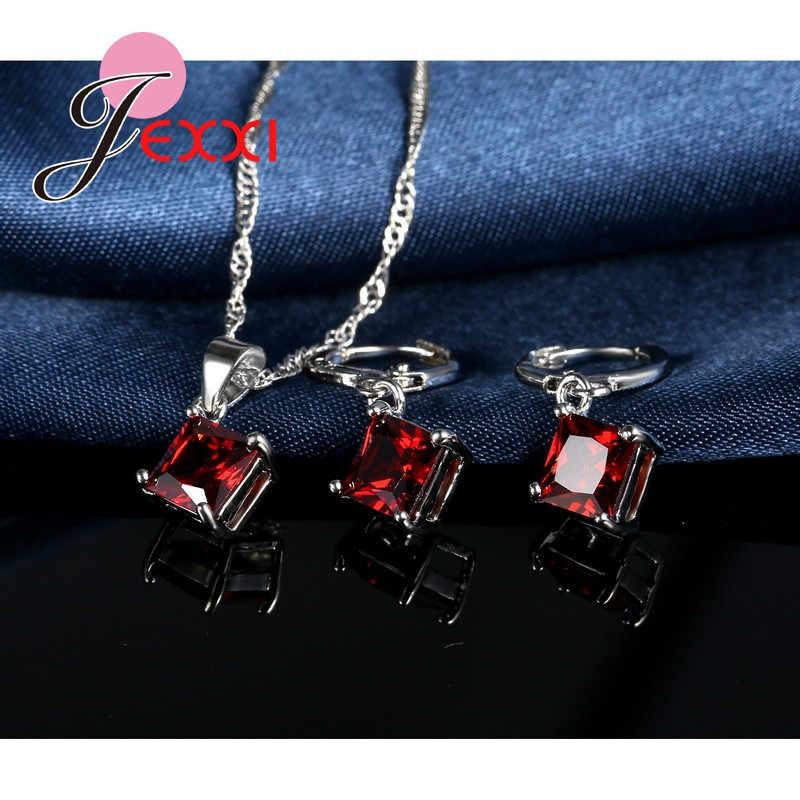 יוקרה רומנטית שרשרת עגילי תכשיטי סטי תליון 925 כסף סטרלינג CZ נשים ריקודי חתונה תכשיטים