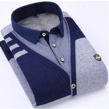 Winter new Men's Thicken lattice shirt Casual Slim fashion cotton male thick blouse men plus velvet warm youth clothing