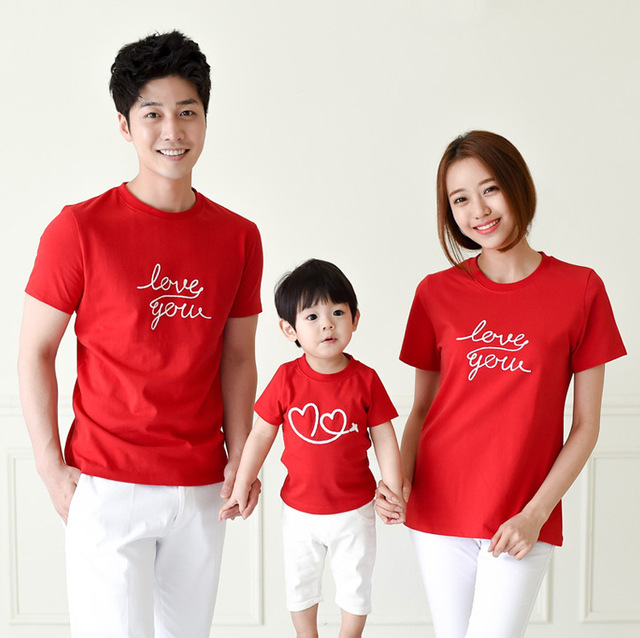 Family Fashion cultivate Love Summer Short-sleeve T-shirt Matching Family Clothing Outfits For Mother Daughter And Father Son