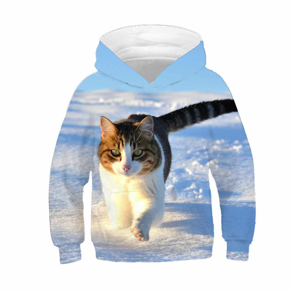 f8f71bd83 New 2019 Children Animal Printing Tracksuit Pullover Tops Kids 3d Cute Cat Hoodie  Hooded Sweatshirt Boy