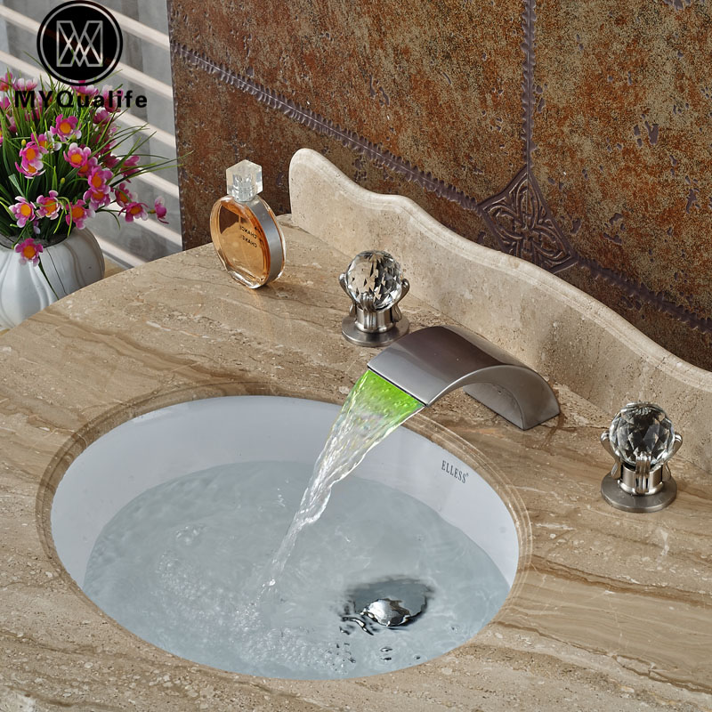 Deck Mount Color Changing LED Water Basin Faucet Brushed Nickel Waterfall Spout Dual Cristal Handles