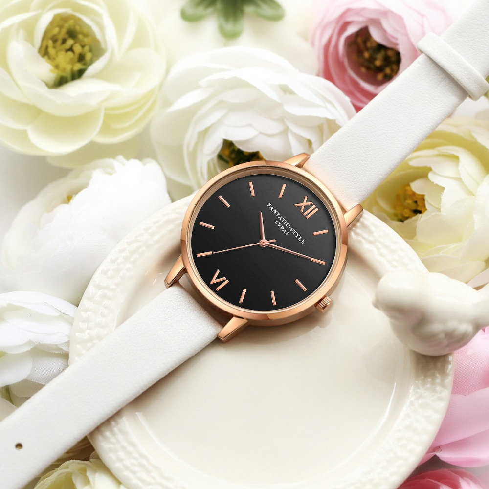 Black Leather Rose Gold Women WristWatches   2