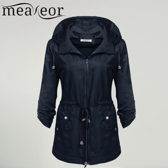 153b32853 Meaneor Waterproof Jacket Women Windproof Traveling Detachable Hooded  Jackets Autumn Casual Solid Drawstring Coat Outwear