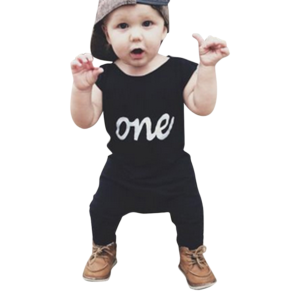 Baby   Romper   Infant Toddler Kids One Print Black Sleeveless Summer   Rompers   Jumpsuit Outfit 3 to 24 Months Baby Clothing
