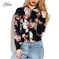 Newest Women Floral Print Long Sleeved Jacket Flower Casual Slim Bomber Jackets Autumn Winter Female Black