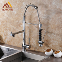 New Arrival Deck Mounted Kitchen Faucet Dual Spouts Sink Mixer Tap Chrome Polish Spring Faucet