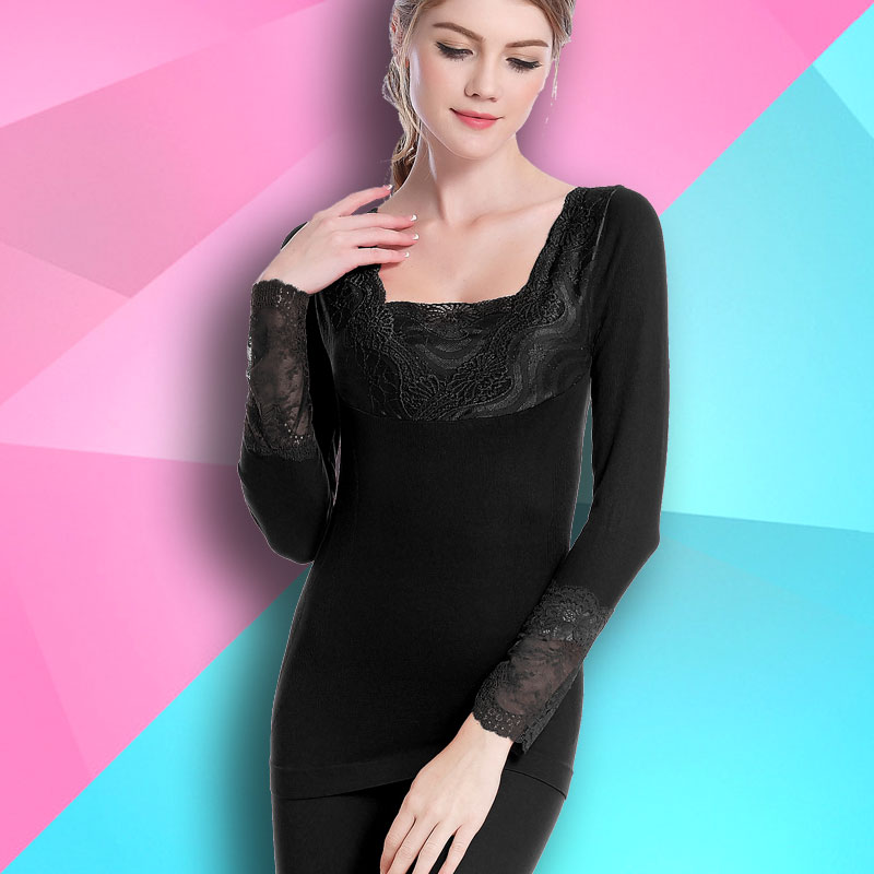 Women Seamless Corselet Long Johns Slimming Thick Square Neck Lace Underpants Tight Autumn Winter Thermal Underwear Sets Female