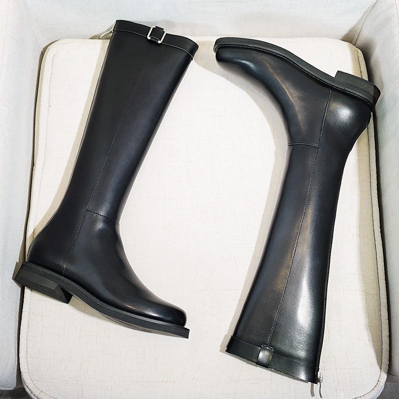 As De Show Piel Cuero Rodilla Suave Botas Caliente Negro Moda Señoras Mujer Cómodos Wo Zapatos Invierno Hebilla ZZqAP