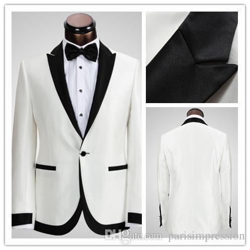 New Arrival White Ivory Wedding Suits For Men Tuxedos Black Satin Peaked Lapel Mens Slim