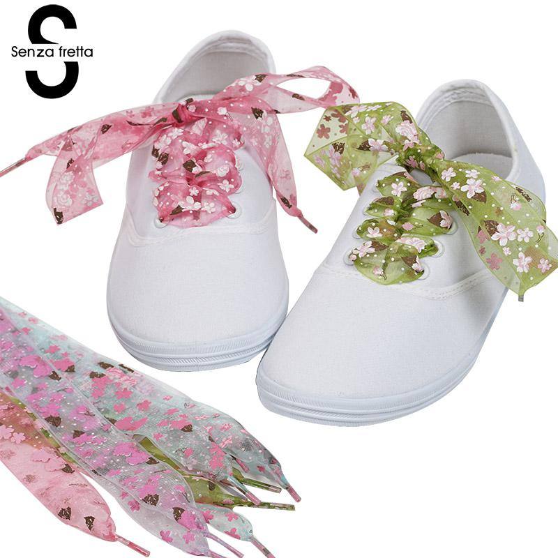 Senza Fretta Flat Shoelaces Women Printing Flower Shoe Laces New Design Shoes Lace Decorated Floral Shoelace LDD0537 chic women s rhinestone decorated floral ring