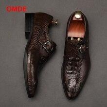 OMDE New Fashion Alligator Pattern Single Monk Strap Formal Shoes Men Pointed Toe Dress Breathable Groom Wedding