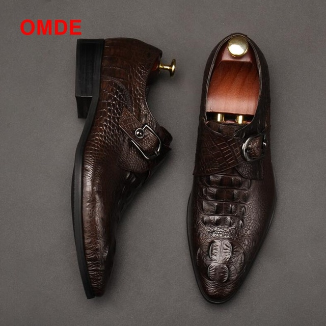 OMDE New Fashion Alligator Pattern Single Monk Strap Formal Shoes Men Pointed Toe Dress Shoes Breathable Groom Wedding Shoes