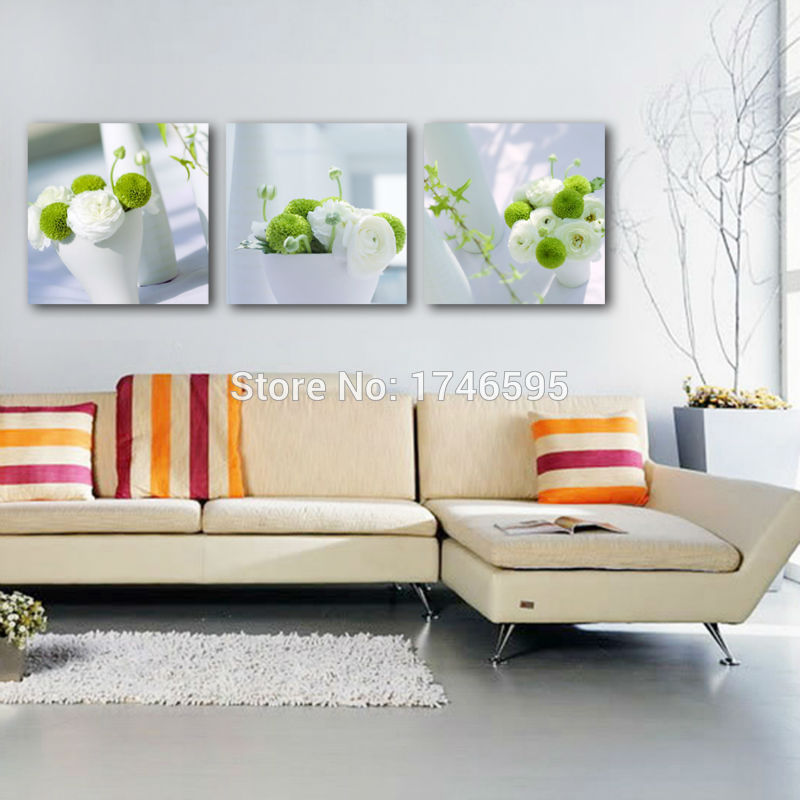 Paintings For Living Room Wall What Color Should I Paint My With Blue Carpet 3pcs Big Size Modern Home Art Decor Dining White Green Flower