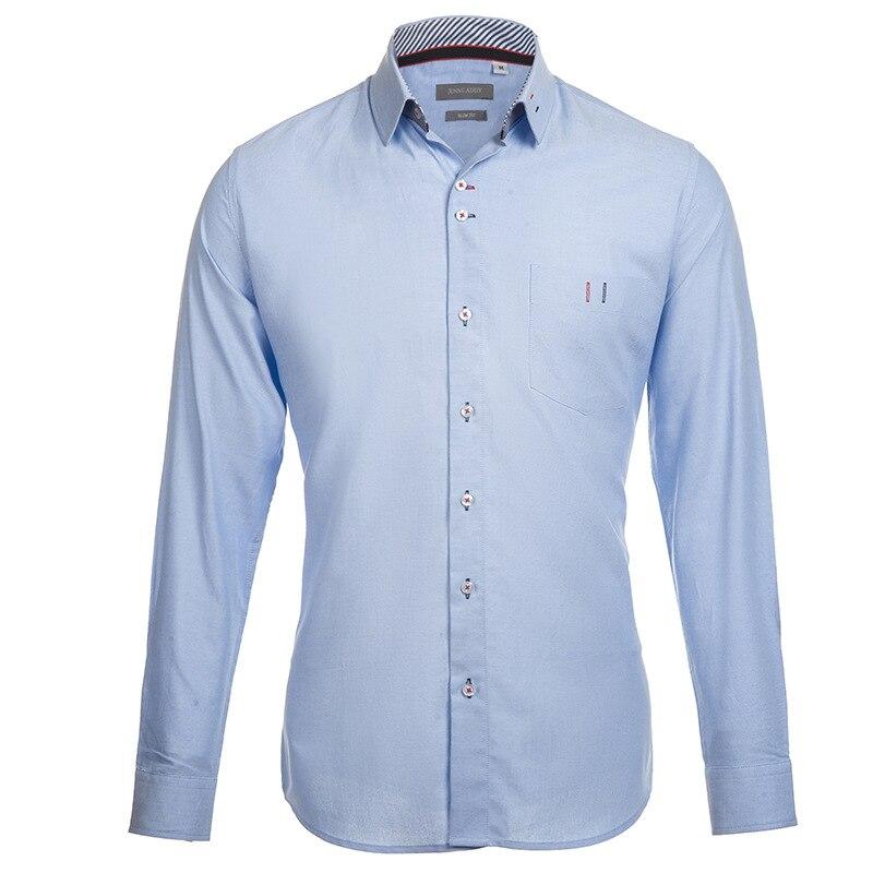 100% Baumwolle Herren Hemden 2017 Brand Design Shirt Männer Casual Slim Fit Chemise Homme Mode Camisas Masculinas Blau Xxl