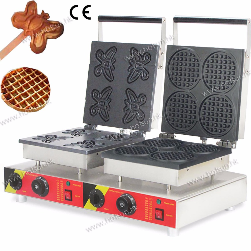 Free Shipping Double Commercial 110V 220V Electric Waffle Butterfly + Lolly Waffle Maker Iron Machine