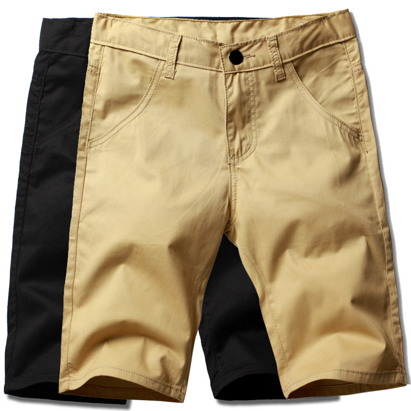 Shorts Men's Summer Casual Cotton Straight Five Shorts Large Size 28-38 Medium And Low Waist Solid Color Brand Zipper Shorts