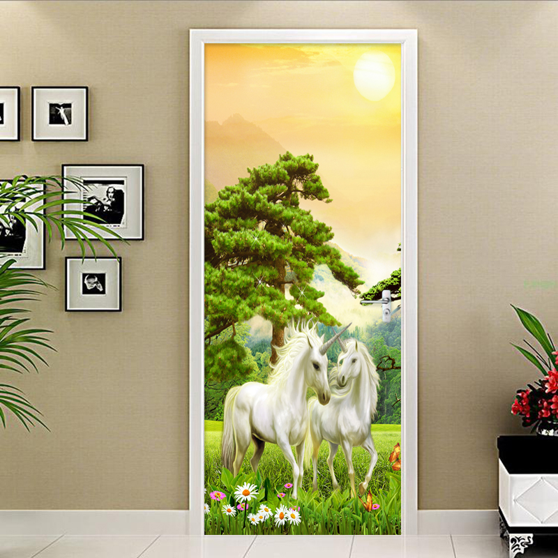 PVC Self-Adhesive Waterproof Mural Wallpaper Modern Classic Forest Horse Photo Wall Door Sticker Living Room Study 3D Home Decor custom mural wallpaper creative space forest path 3d wall sticker wallpaper modern living room bedroom door mural pvc home decor