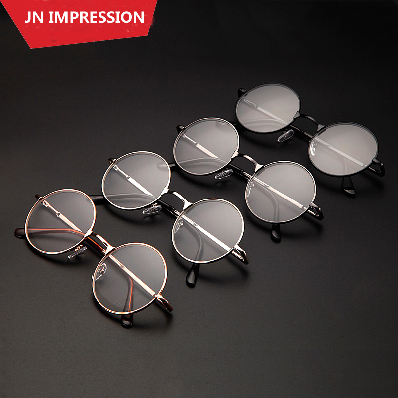 4 Colors Retro Round Eyeglasses Metal Frames Reading Glasses Men Women Oculos De Grau Diopter Glasses 1 1.5 2 2.5 3