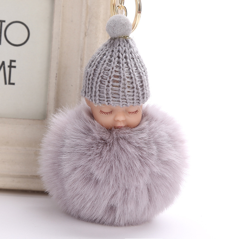 Fashion Sleeping Baby Doll Keychain Pompom Rabbit Fur Ball Car Keyring Baby Toy Key Chain Women