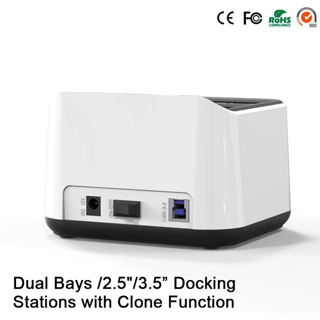 """Bahía Dual Nuevo Llega externa hdd 2.5 """"caja de disco duro usb 3 caja hdd sata ssd hdd docking station clone función de acoplamiento"""