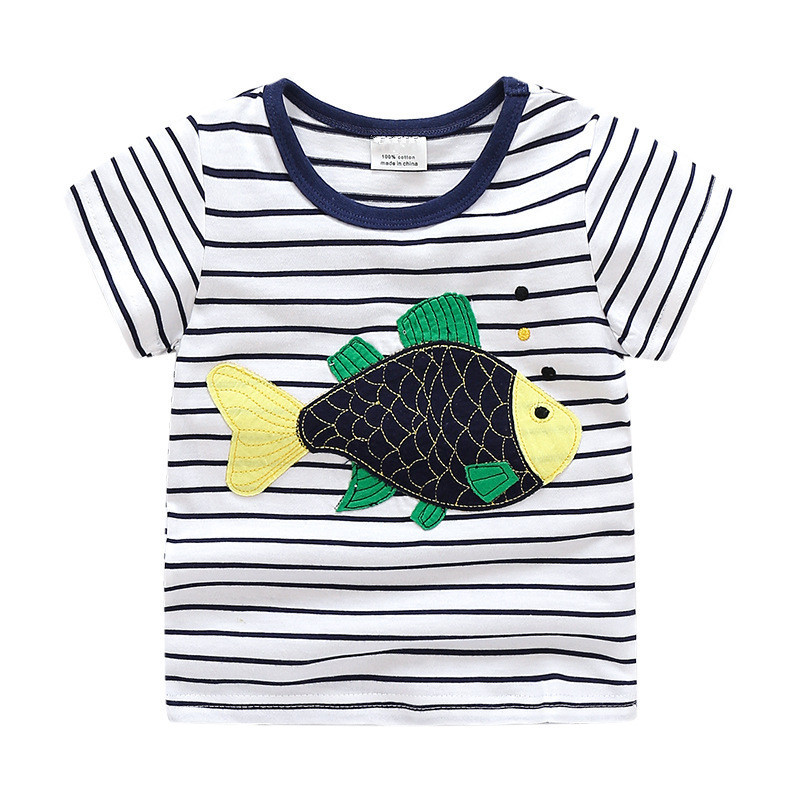 New applique baby boys short sleeves cartoon t shirts with applique a cute fish kids top quality summer t shirt hot selling ...