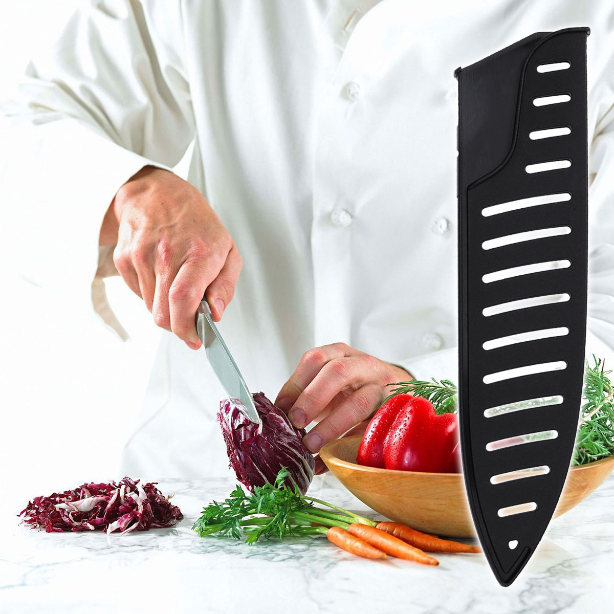 3pcs Knife Protector Kitchen Sheath  Black Plastic Kitchen Knife Blade Protector Cover For 8 Inches Knife