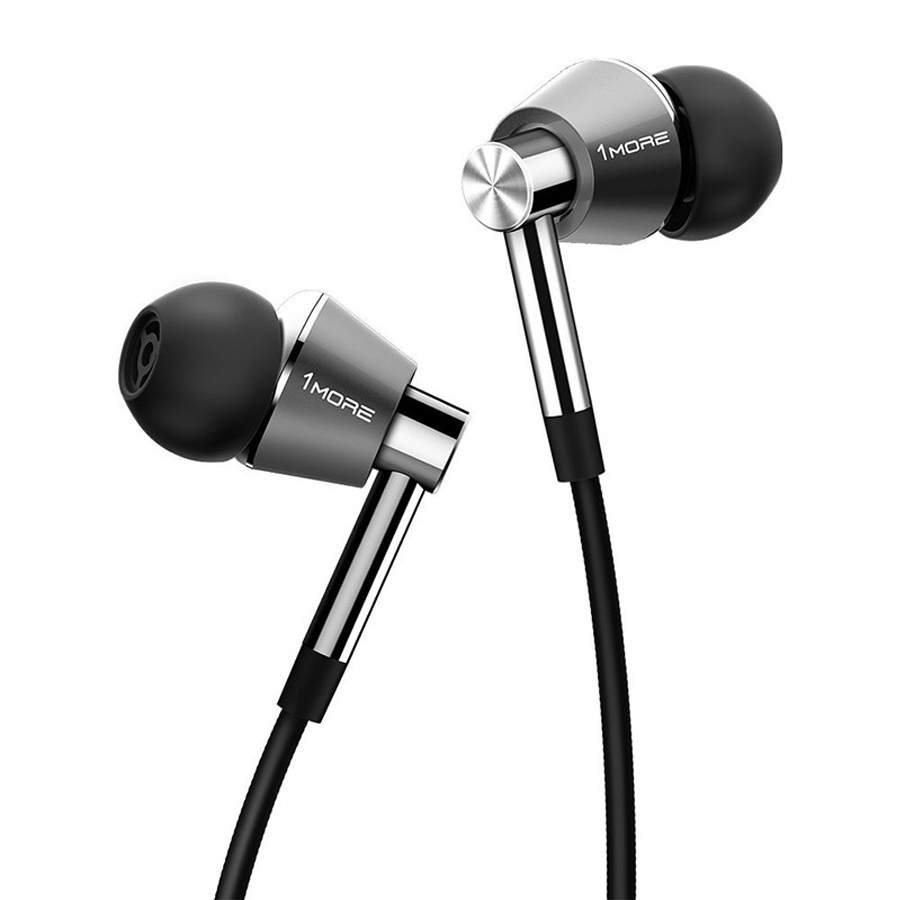 1 MORE Triple Driver E1001 Titanium In-Ear Earphones Earbuds Compatible In-line For iOS Android Xiaomi Phone Microphone Remote 1 more triple driver in ear earphones earbuds for ios and android xiaomi phone compatible microphone and remote e1001 titanium