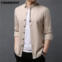 COODRONY erkekler gömlek Streetwear moda rahat gömlek yumuşak pamuklu gömlek erkek giysileri 2019 sonbahar uzun kollu Camisa Masculina 96040