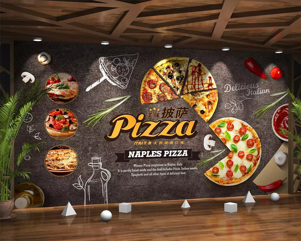 Beibehang Wallpaper Mural Gourmet Cartoon Pizza Fast Food Restaurant Background Wall Restaurant Kitchen Decoration 3d Wallpaper