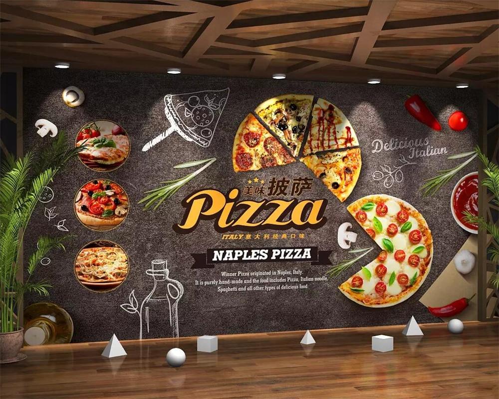 pizza restaurant kitchen fast gourmet 3d cartoon decoration beibehang mural wallpapers
