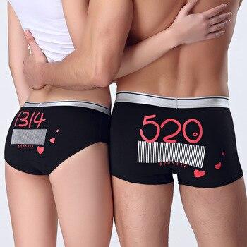 QIZXIM 1 paire bande dessinée imprimer plein coton Couples sous-vêtements amoureux culottes hommes boxeurs femmes Lingerie sous-vêtements amoureux de la saint-valentin
