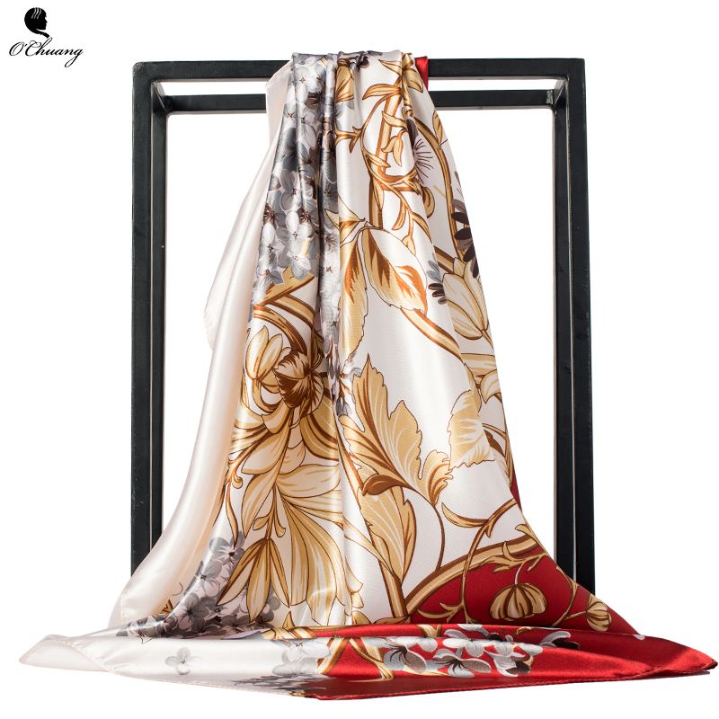 Women   Scarf   Silk Satin Flowers Printed Luxury Foulard Cheveux Hijab Shawl Scarfs Square Head   Scarves     Wraps   90x90cm