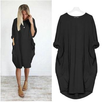 Dresses Summer 2019 Womens Fashion Sexy Dress Clothes Casual Loose Pocket Long Sleeve Dress Female Vestidos Verano Sukienki LY08