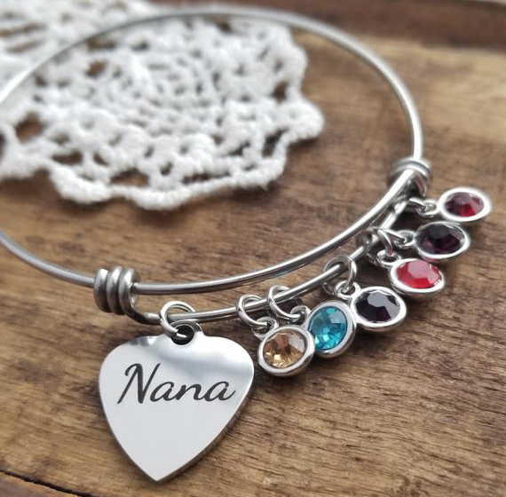 Stainless Steel Letter Bangle New Listing Birthstone Nana Bracelet Heart Charm Bangles Jewelry Best Gift for Women YP4136