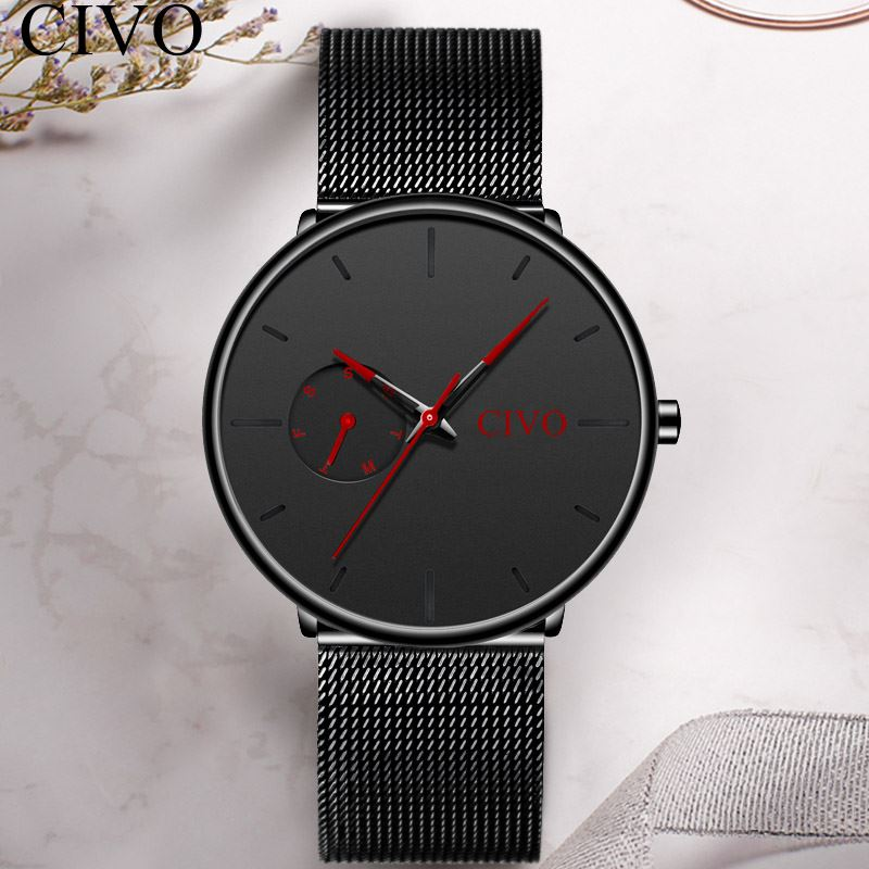 CIVO Men Analog Quartz Sports Watches MenS Army Military Watch Male Waterproof Mesh Strap 2019 Simple Clock Reloj Hombre ClockCIVO Men Analog Quartz Sports Watches MenS Army Military Watch Male Waterproof Mesh Strap 2019 Simple Clock Reloj Hombre Clock