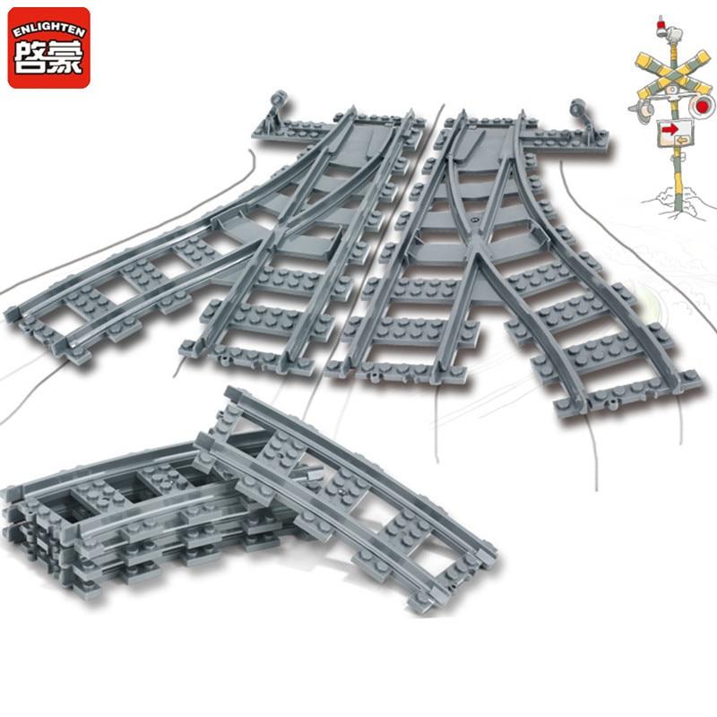 City Trains Parts Flexible Track Rail Crossing Straight Curved Rails Building Blocks Sets LegoINGLs DIY Bricks Toys For Children