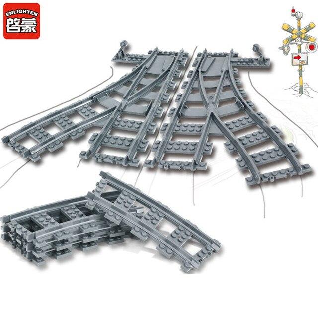 Peças de Comboios urbanos Flexível Faixa de Travessia Ferroviária Trilhos Em Linha Reta Curva Compatível LegoINGLs Blocos Define Tijolos Crianças Brinquedos