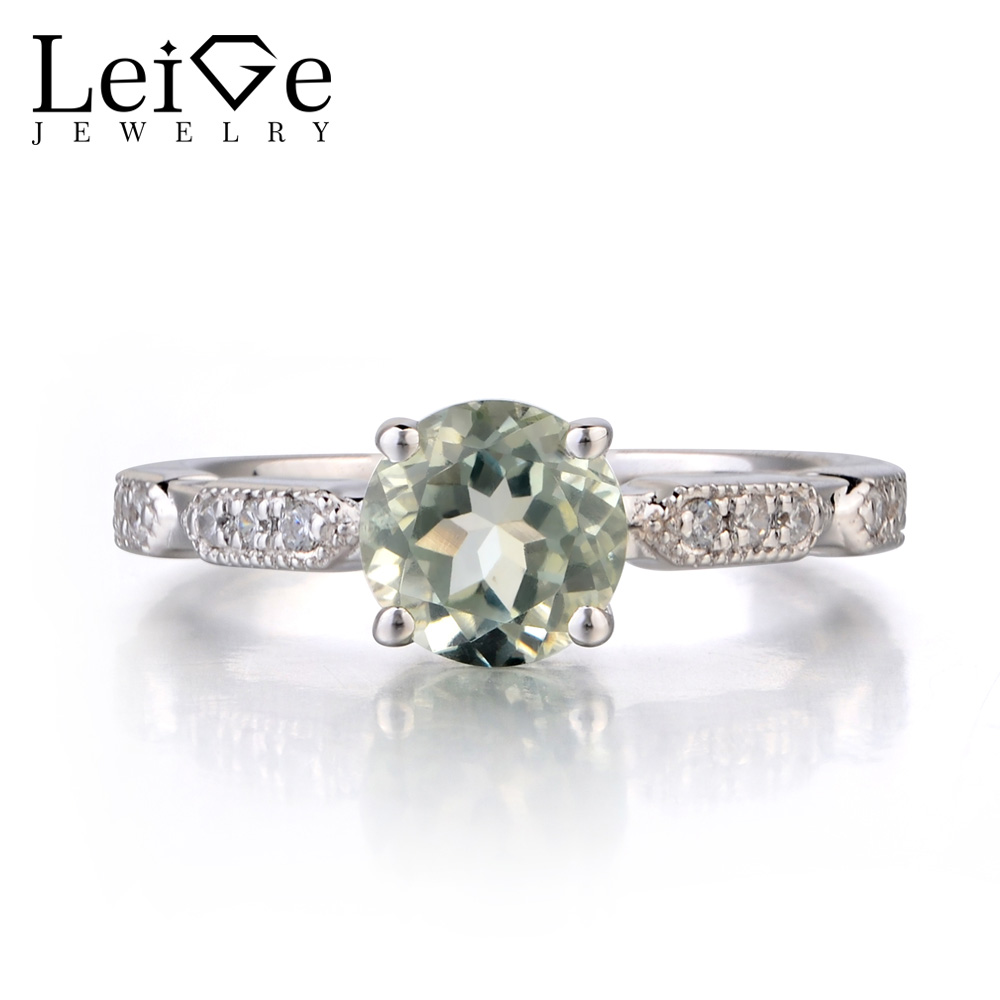 Leige Jewelry Natural Green Amethyst Ring Round Cut Wedding Engagement 925 Sterling Sliver Rings For Woman Gemstone Jewelry