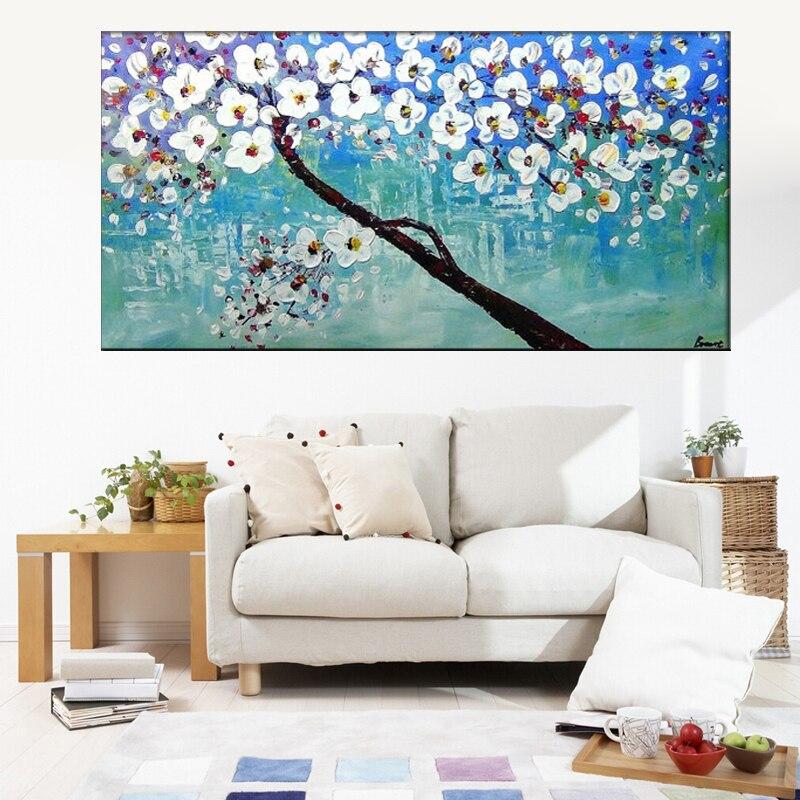 Unframed pintado a mano azul blanco Cerezo árbol y flor imagen ...