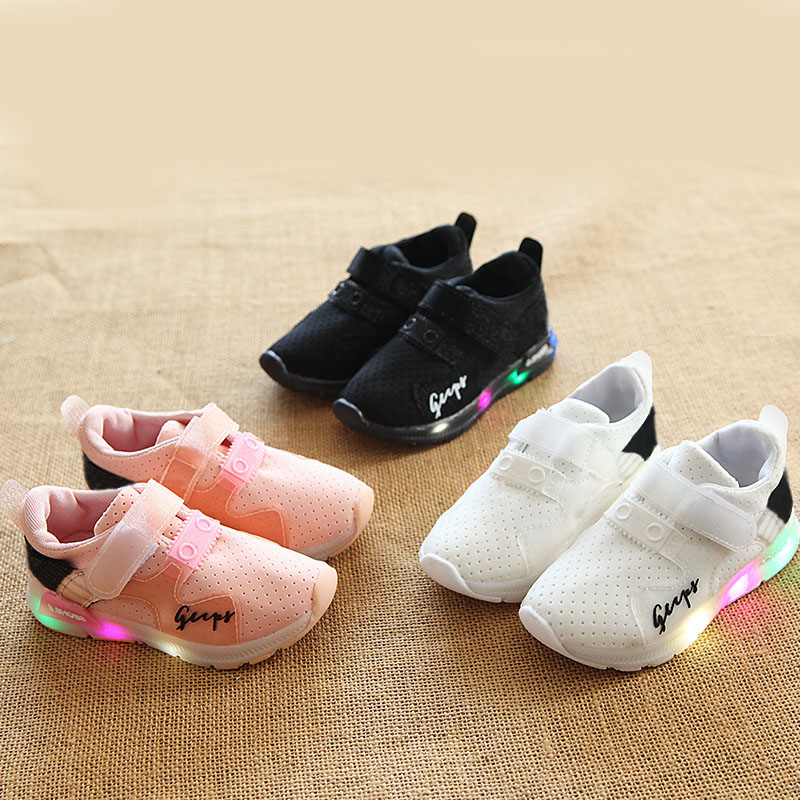 High quality Cool sports tennis LED lighted children casual sneakers Hook&loop fashion baby boys girls shoes fashion toddlers